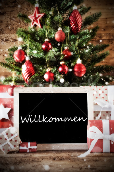 Christmas Tree With Willkommen Means Welcome Stock photo © Nelosa