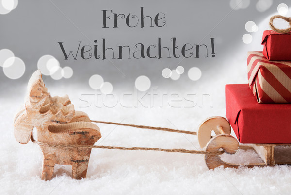 Reindeer With Sled, Silver Background, Frohe Weihnachten Means Merry Christmas Stock photo © Nelosa