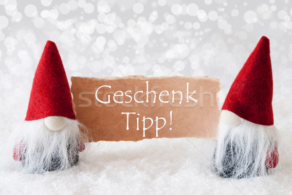 Red Gnomes With Card, Geschenk Tipp Means Gift Tip Stock photo © Nelosa