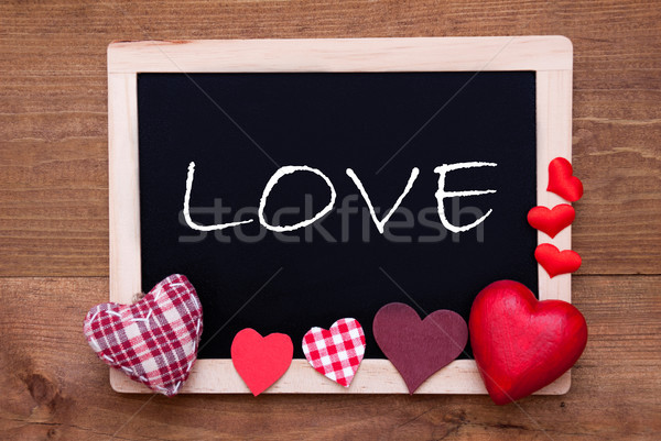 Lousa têxtil corações texto amor inglês Foto stock © Nelosa