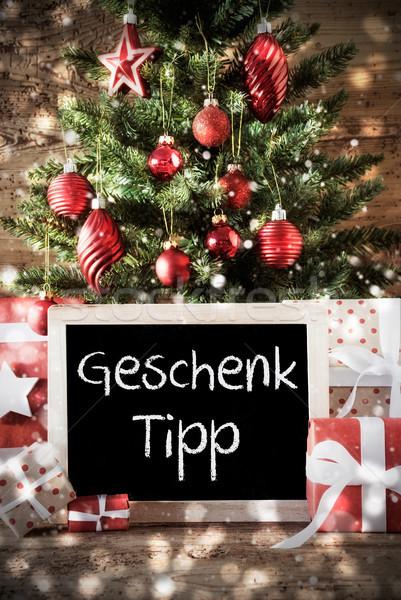 árbol de navidad regalo punta pizarra texto Foto stock © Nelosa