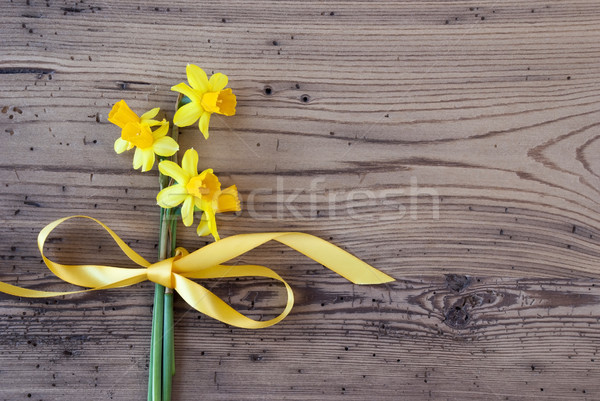 Flat Lay Of Yellow Spring Nacrissus, Copy Space Stock photo © Nelosa