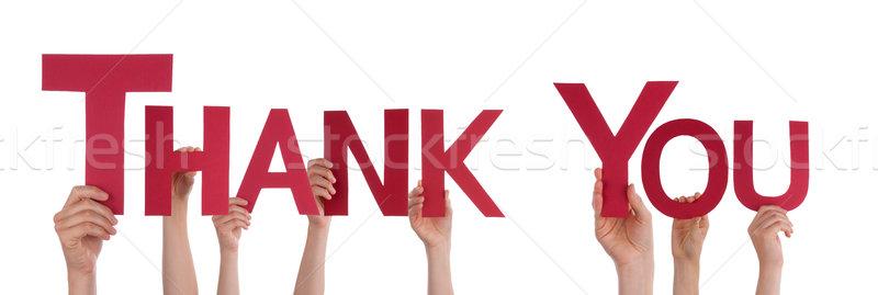 Mãos obrigado muitos vermelho palavra Foto stock © Nelosa
