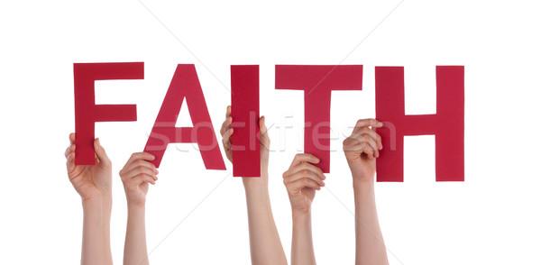 Menschen halten Glauben viele Wort isoliert Stock foto © Nelosa