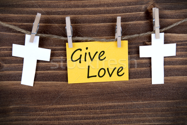 Bandeira dar amor amarelo linha madeira Foto stock © Nelosa