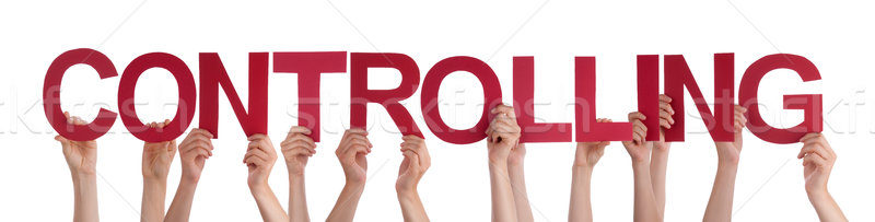 Many People Hands Holding Red Straight Word Controlling Stock photo © Nelosa