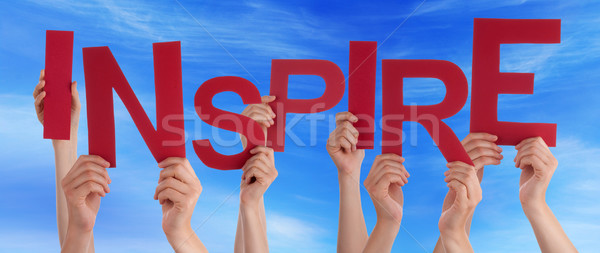 Many People Hands Holding Red Word Inspire Blue Sky Stock photo © Nelosa