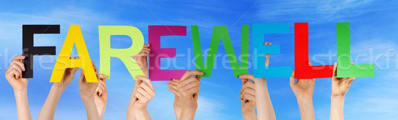 El renkli düz kelime veda Stok fotoğraf © Nelosa