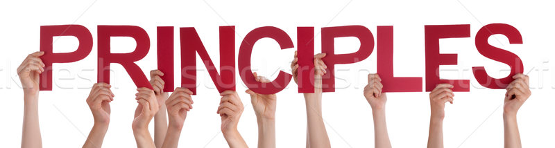 People Hands Holding Red Straight Word Principles  Stock photo © Nelosa