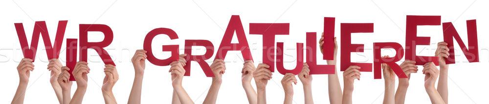 Ludzi słowo gratulacja wiele ręce Zdjęcia stock © Nelosa