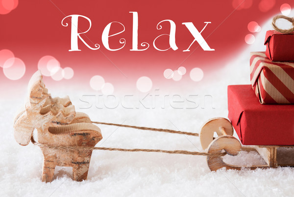 Reindeer With Sled, Red Background, Text Relax Stock photo © Nelosa