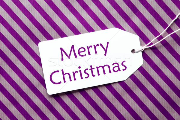 Label On Purple Wrapping Paper, Text Merry Christmas Stock photo © Nelosa