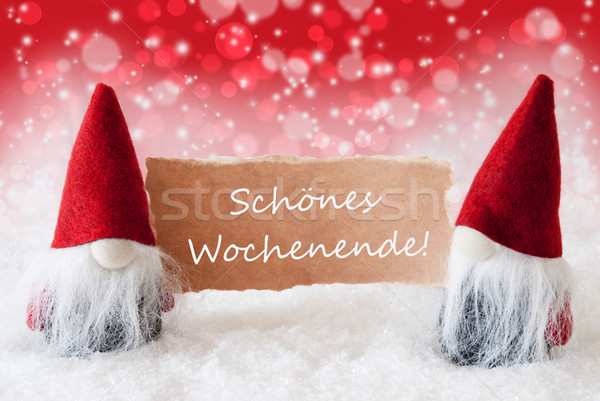 Red Christmassy Gnomes With Card, Schoenes Wochenende Means Happy Weekend Stock photo © Nelosa