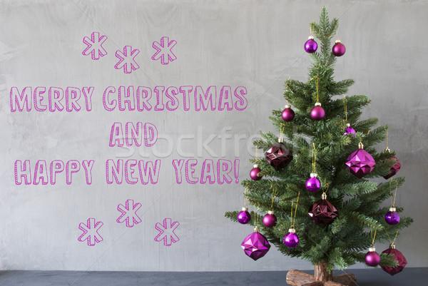 Tree, Cement Wall, Merry Christmas And Happy New Year Stock photo © Nelosa