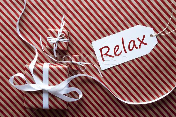Foto stock: Dois · presentes · etiqueta · texto · relaxar · presentes