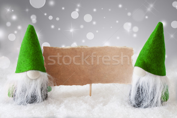 Green Gnomes With Card And Snow, Copy Space Stock photo © Nelosa