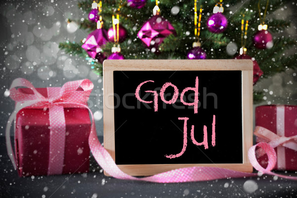 Tree With Gifts, Snowflakes, Bokeh, God Jul Means Merry Christmas Stock photo © Nelosa