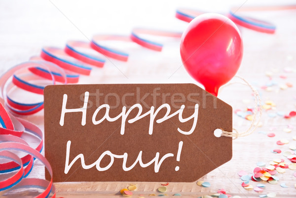 Party Label With Streamer, Balloon, Text Happy Hour Stock photo © Nelosa