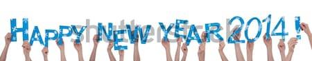 Many People Holding Happy New Year 2014 Stock photo © Nelosa