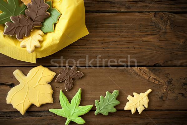 Autumn Cookies on Wooden Background Stock photo © Nelosa