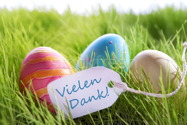 Happy Easter Background With Colorful Eggs And Label With German Text Vilene Dank Stock photo © Nelosa