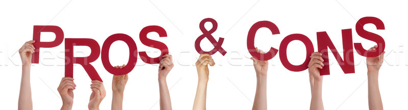 Hands Holding Red Word Pros And Cons  Stock photo © Nelosa