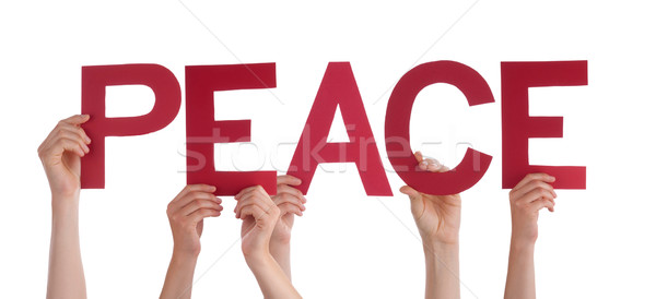 Many People Hands Holding Red Straight Word Peace Stock photo © Nelosa