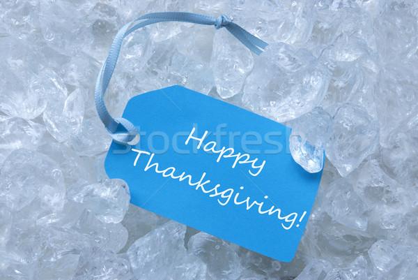 Címke jég boldog hálaadás világoskék kék Stock fotó © Nelosa