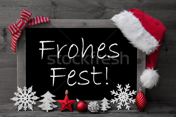 Blackboard Santa Hat Frohes Fest Means Merry Christmas  Stock photo © Nelosa