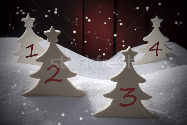 Four Christmas Trees, Snow, Snowflakes, Numbers 1, 2, 3, 4 Stock photo © Nelosa