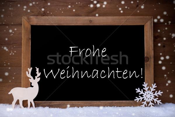 Vintage Card, Blackboard, Snow, Frohe Weihnachten Mean Christmas Stock photo © Nelosa