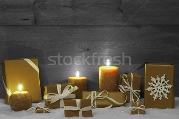 Рождества украшение желтый свечей представляет снега Сток-фото © Nelosa