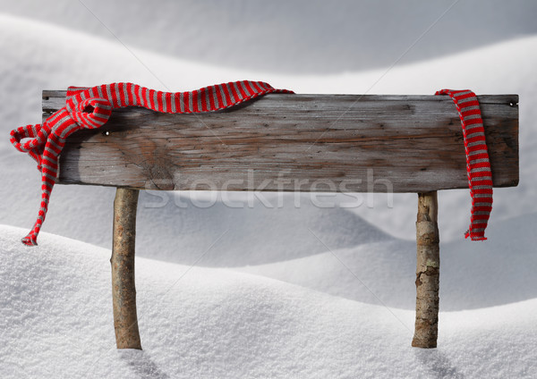 Brown Christmas Sign Copy Space Snow, Red Ribbon Stock photo © Nelosa