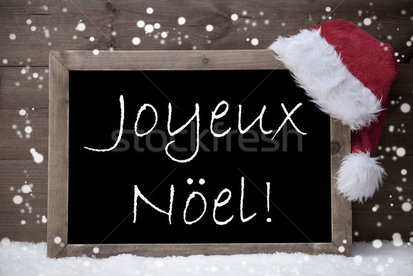 Gray Card, Chalkboard, Joyeux Noel Mean Merry Christmas, Snow Stock photo © Nelosa