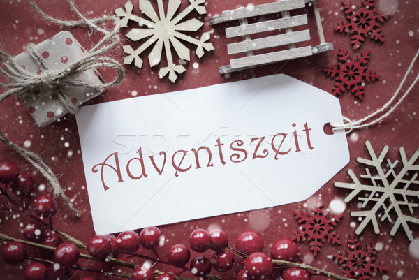 Nostalgic Christmas Decoration, Label With Adventszeit Means Advent Season Stock photo © Nelosa