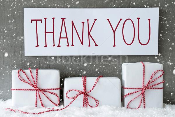Branco dom flocos de neve texto obrigado três Foto stock © Nelosa