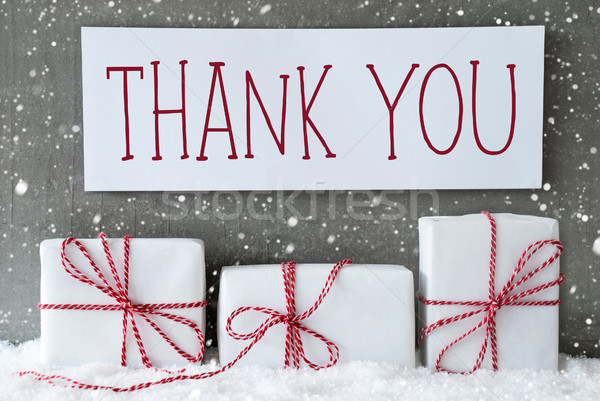 Witte geschenk sneeuwvlokken tekst dank u drie Stockfoto © Nelosa