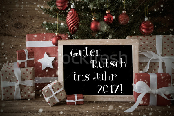 Nostalgic Christmas Tree, Snowflakes, Guten Rutsch 2017 Means Ne Stock photo © Nelosa