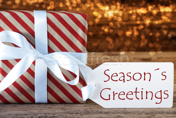 Atmospheric Christmas Gift With Label, Seasons Greetings Stock photo © Nelosa