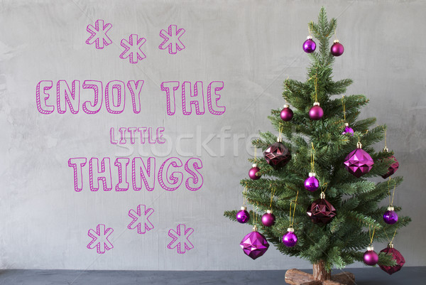 Christmas Tree, Cement Wall, Quote Enjoy The Little Things Stock photo © Nelosa