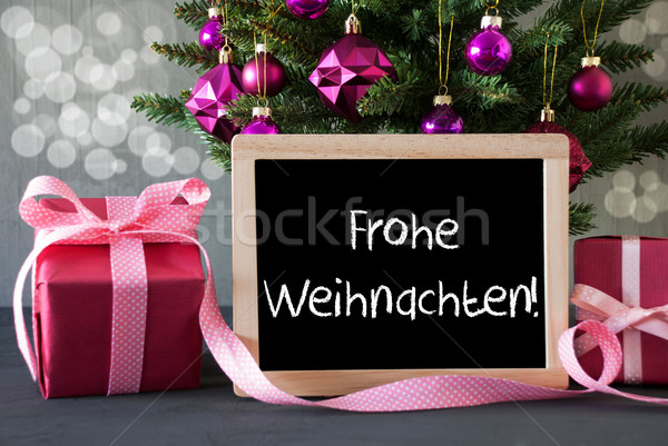 Tree With Gifts, Bokeh, Text Frohe Weihnachten Means Merry Christmas Stock photo © Nelosa