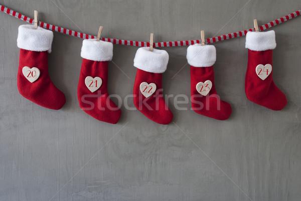 Bottes avènement calendrier ciment Noël suspendu Photo stock © Nelosa