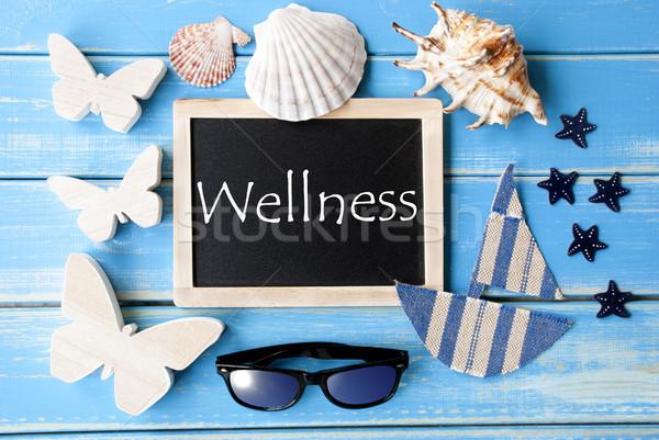 Blackboard With Maritime Decoration And Text Wellness Stock photo © Nelosa