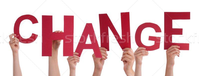 Mani cambiare molti rosso parola Foto d'archivio © Nelosa