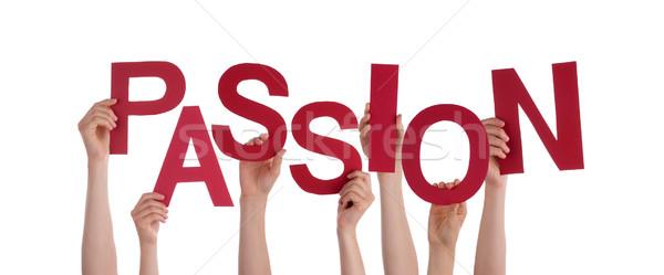 Mains passion beaucoup rouge mot Photo stock © Nelosa