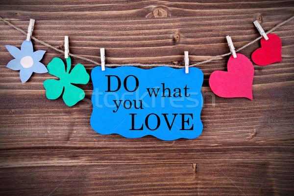 Niebieski wyrażenie co miłości wiszący line Zdjęcia stock © Nelosa