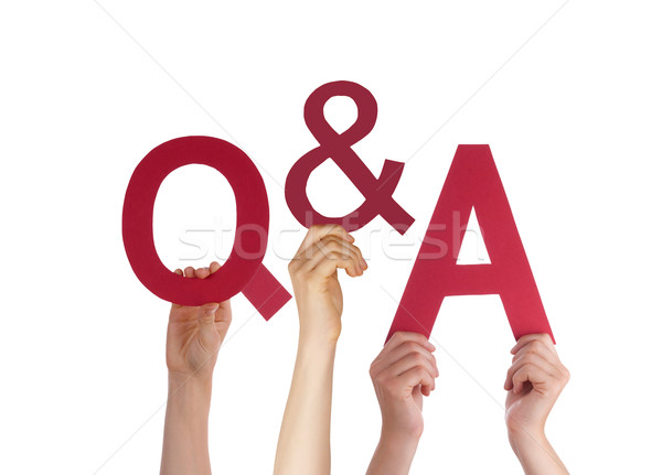 Kezek tart piros szó kérdések válaszok Stock fotó © Nelosa