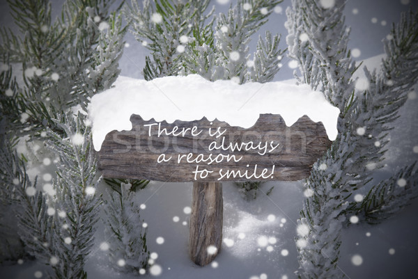Christmas Sign Snowflakes Fir Tree Text Reason Smile Stock photo © Nelosa
