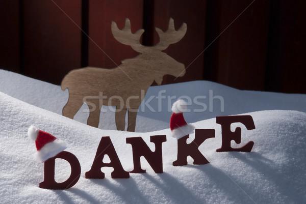 Eland hoed sneeuw Rood brieven Stockfoto © Nelosa