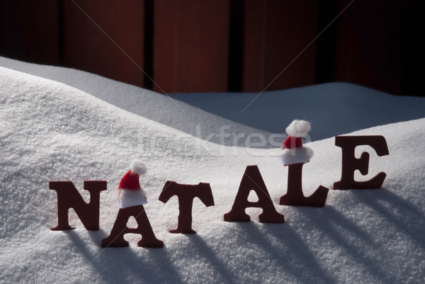 Card With Santa Hat And Snow, Natale Mean Christmas Stock photo © Nelosa